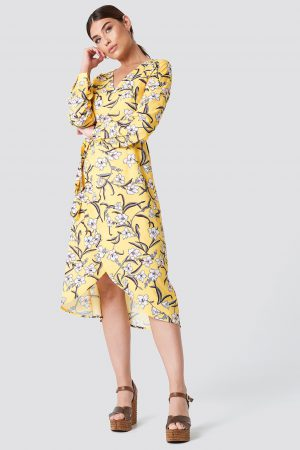Rut&Circle Flower LS Wrap Dress - Multicolor