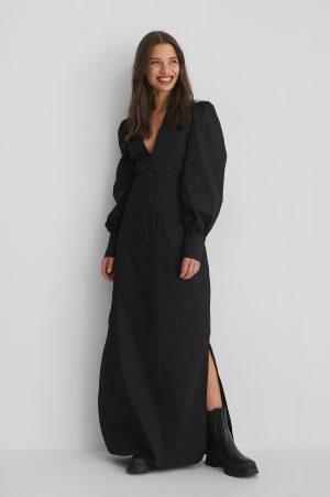 Selma Omari x NA-KD V-Neck Maxi Dress - Black