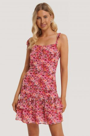 Stéphanie Durant x NA-KD Front Gatherings Dress - Multicolor