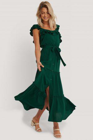 Trendyol Maxiklänning Med Bältesdetalj - Green
