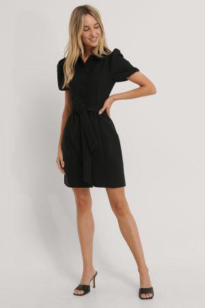 Trendyol Skjortklänning Med Krage Och Bälte - Black