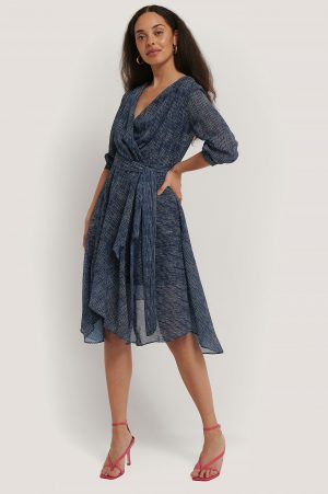 Trendyol Belted Striped Midi Dress - Blue