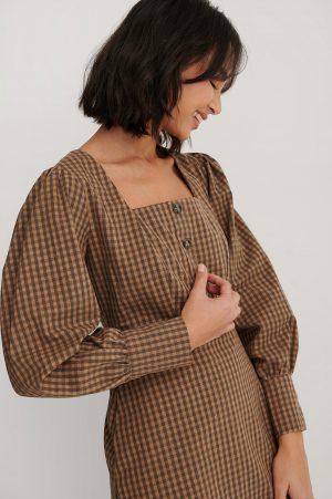 Trendyol Miniklänning Med Fyrkantig Halsringning - Brown