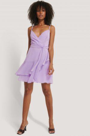 Trendyol Miniklänning Med Knytning I Midjan - Purple
