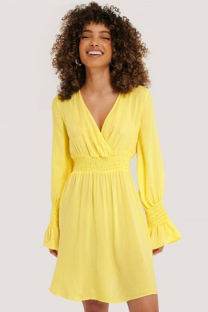 Trendyol Elastic Waist LS Dress - Yellow