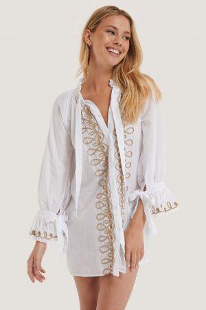 Trendyol Broderad Miniklänning - White