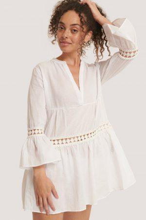 Trendyol Miniklänning Med Broderade Detaljer - White