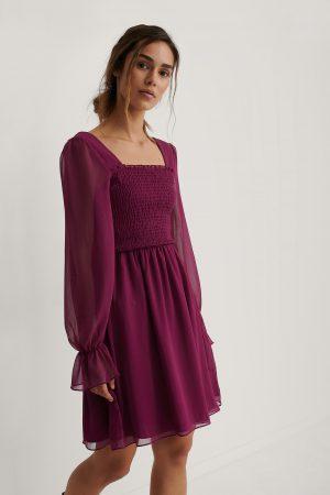 Trendyol Meshklänning Med Smockdetalj - Purple