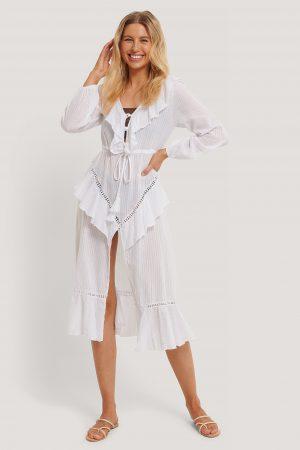 Trendyol Strandklänning I Broderad Voile - White