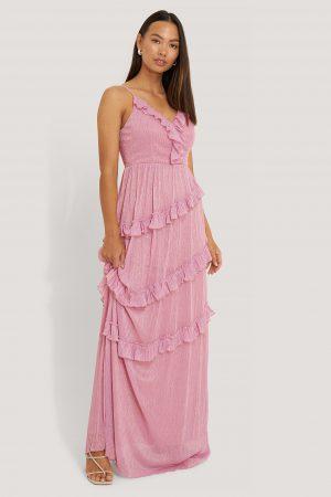 Trendyol Glittrig Aftonklänning Med Krås - Pink