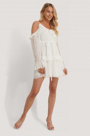 Trendyol Miniklänning Med Volangdetalj - White