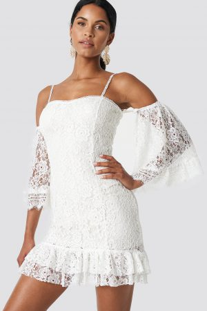 Trendyol Ruffle Bottom Lace Dress - White