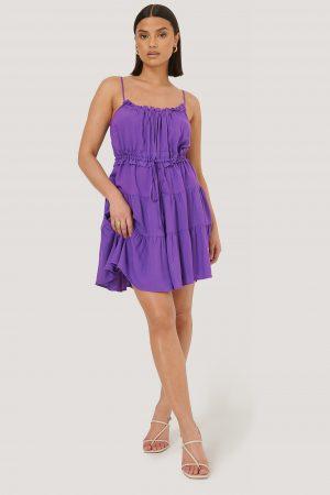 Trendyol Miniklänning Med Volangdetalj - Purple