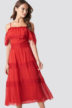 Trendyol Shoulder Strap Lace Midi Dress - Red