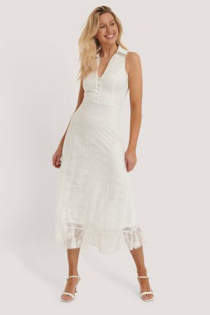 Trendyol Spetsklänning - White