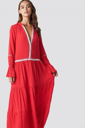 Trendyol Stripe Accessory Detail Maxi Dress - Red