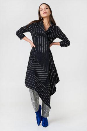 Trendyol Stripe Asymmetrical Dress - Black