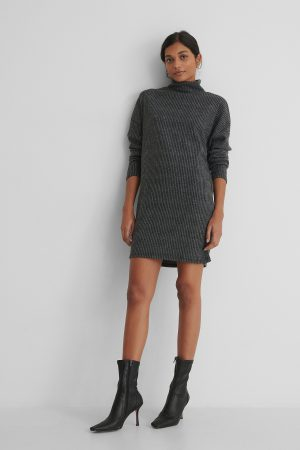 Trendyol Turtleneck Knit Sweater Dress - Grey