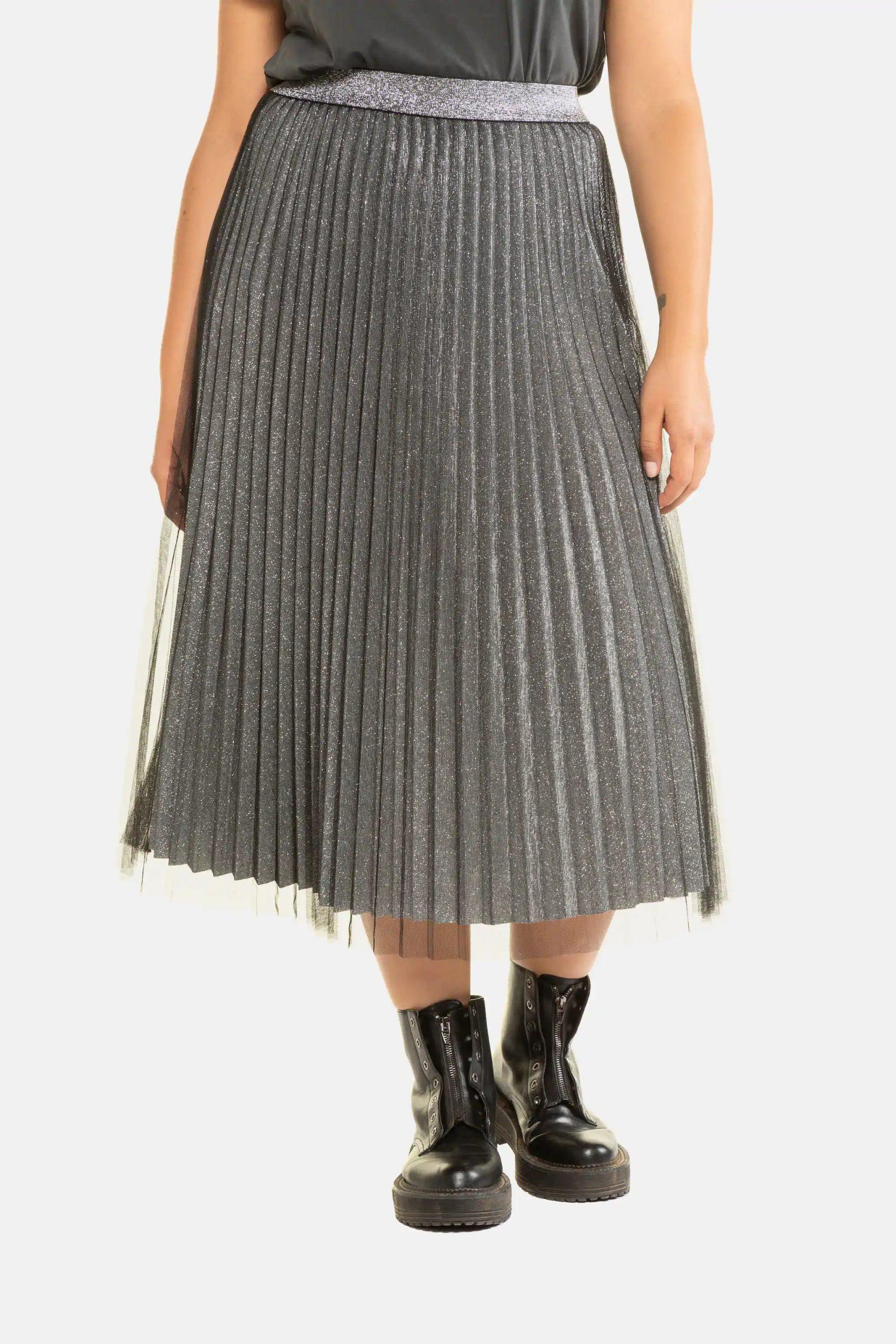 glittrig grå plisserad kjol