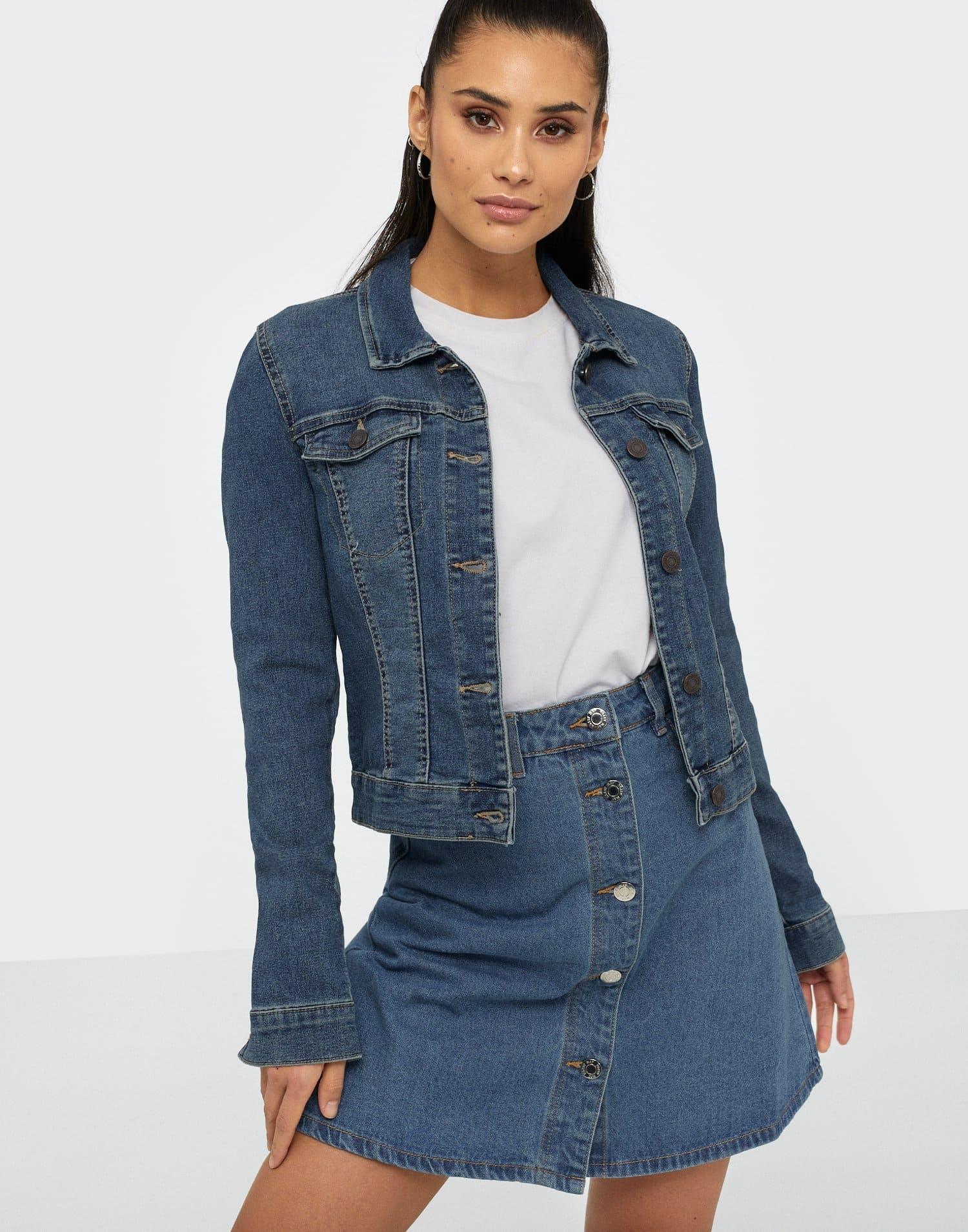 Mörkare Denim jeansjacka för dam