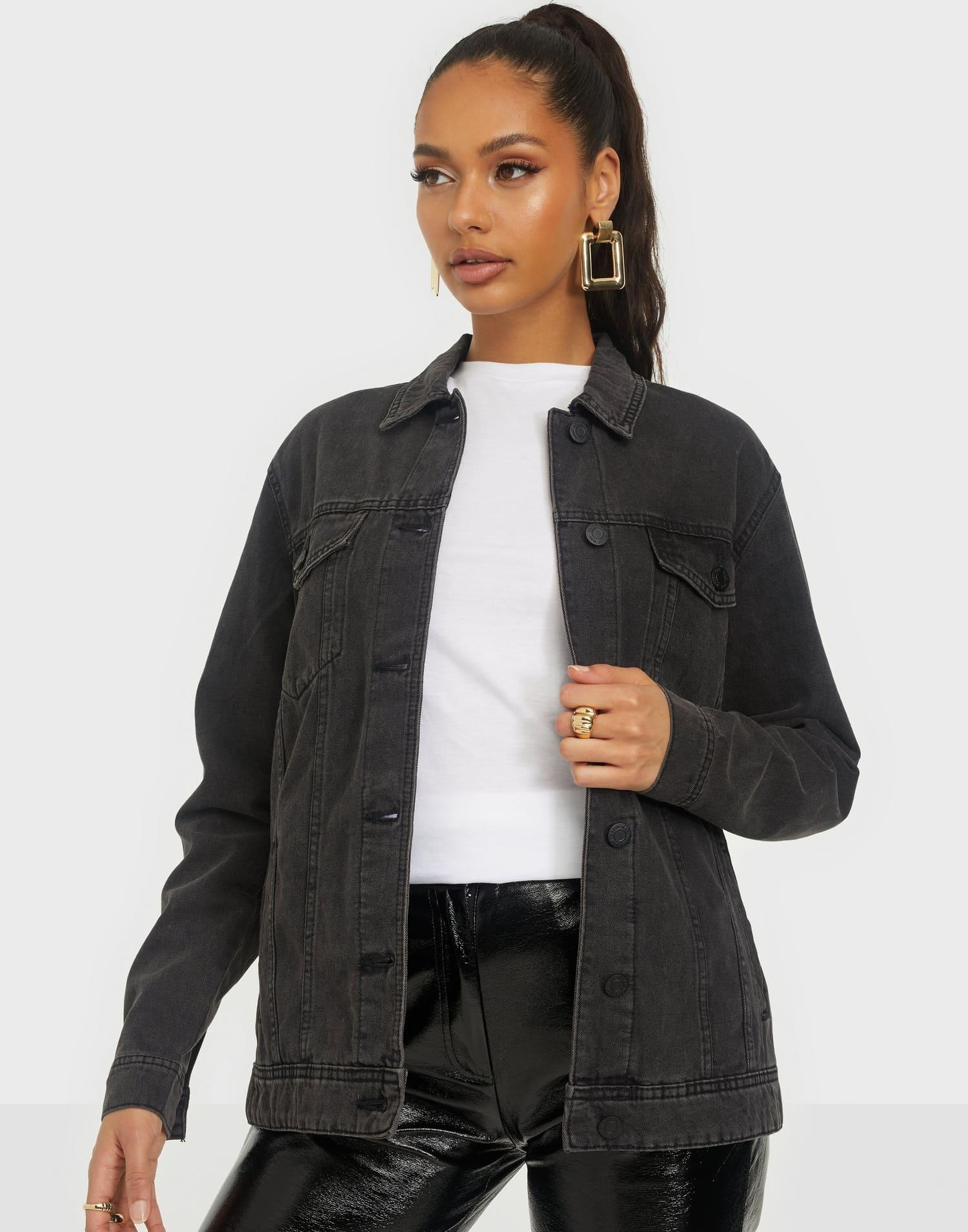 Gråsvart jeansjacka för dam 2021