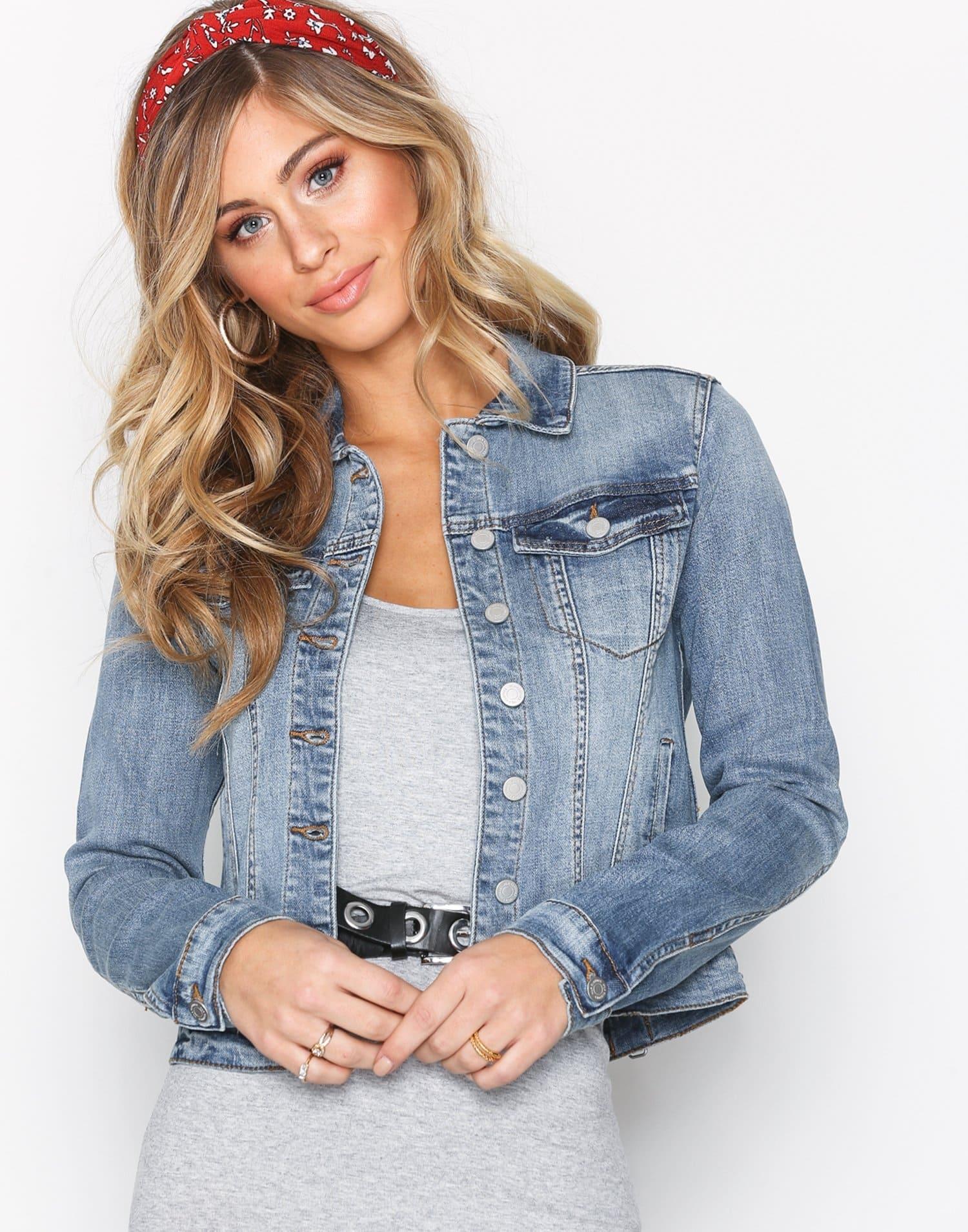 Kort jeansjacka för dam