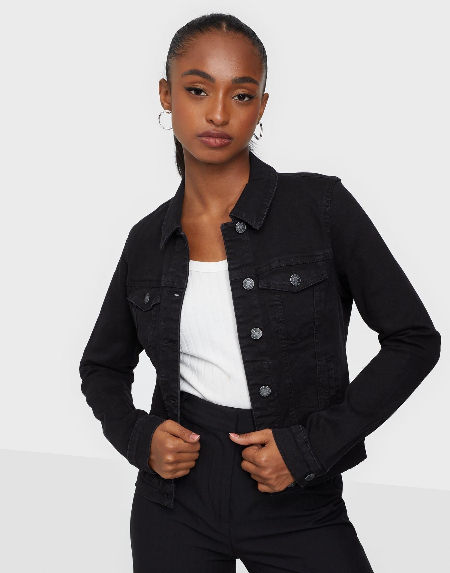 Svart tight jeansjacka för dam