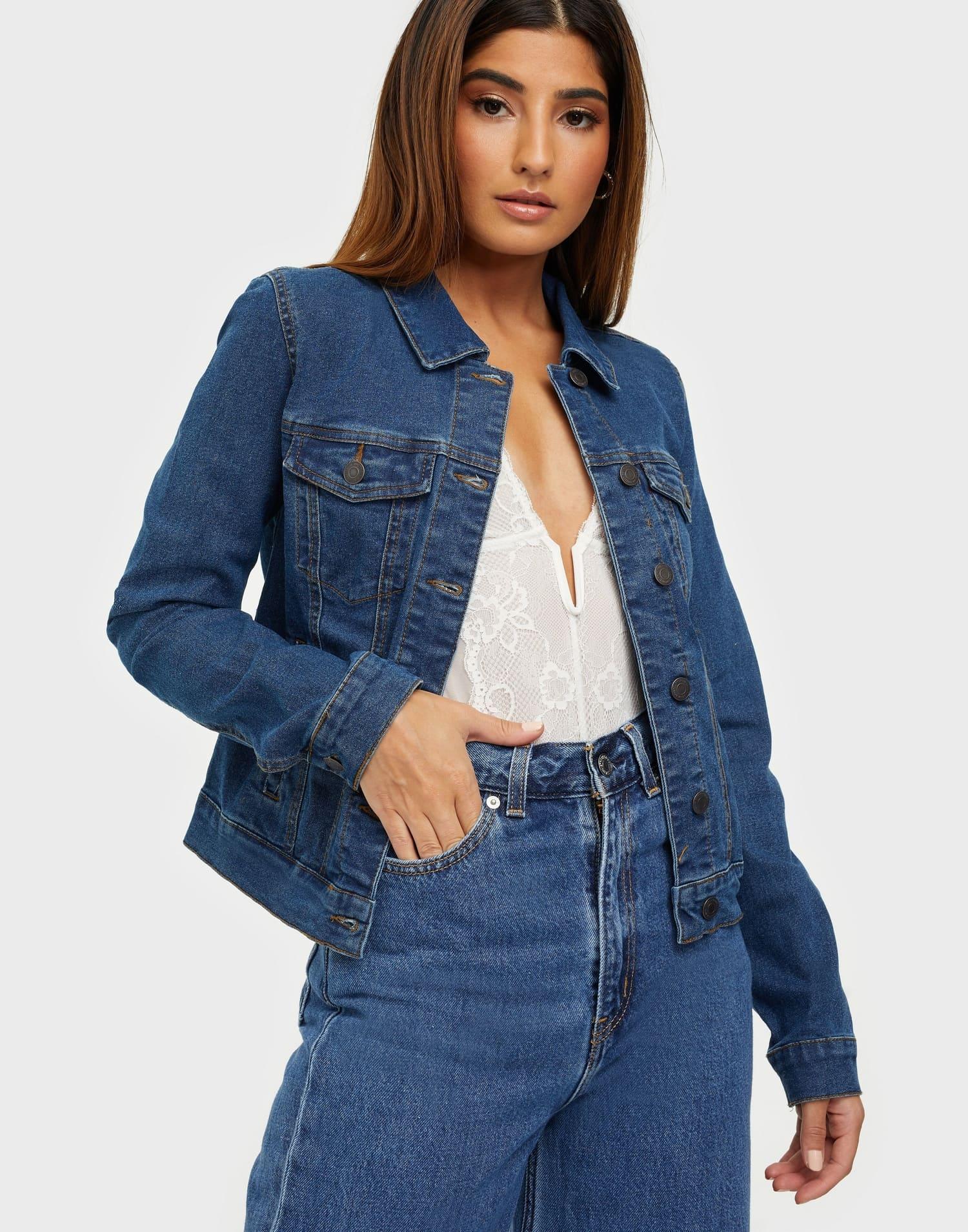 Mörkblå jeansjacka för dam