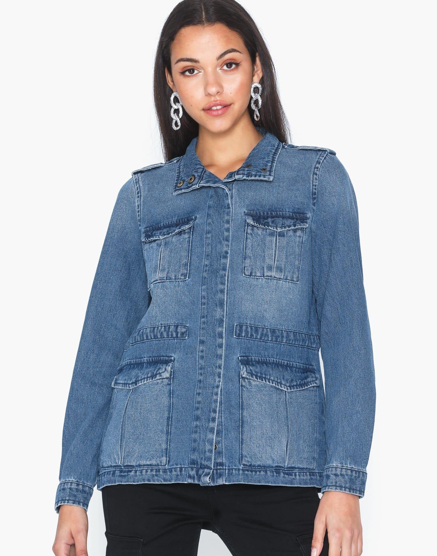 Jeansjacka för dam med fyra fickor