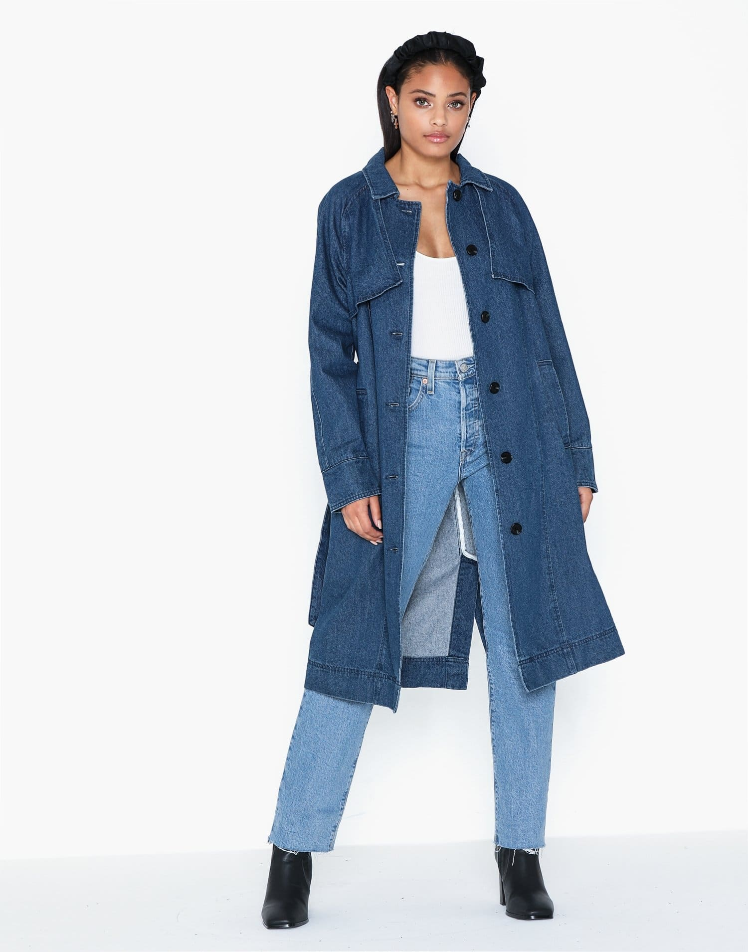 Lång jeansjacka för dam