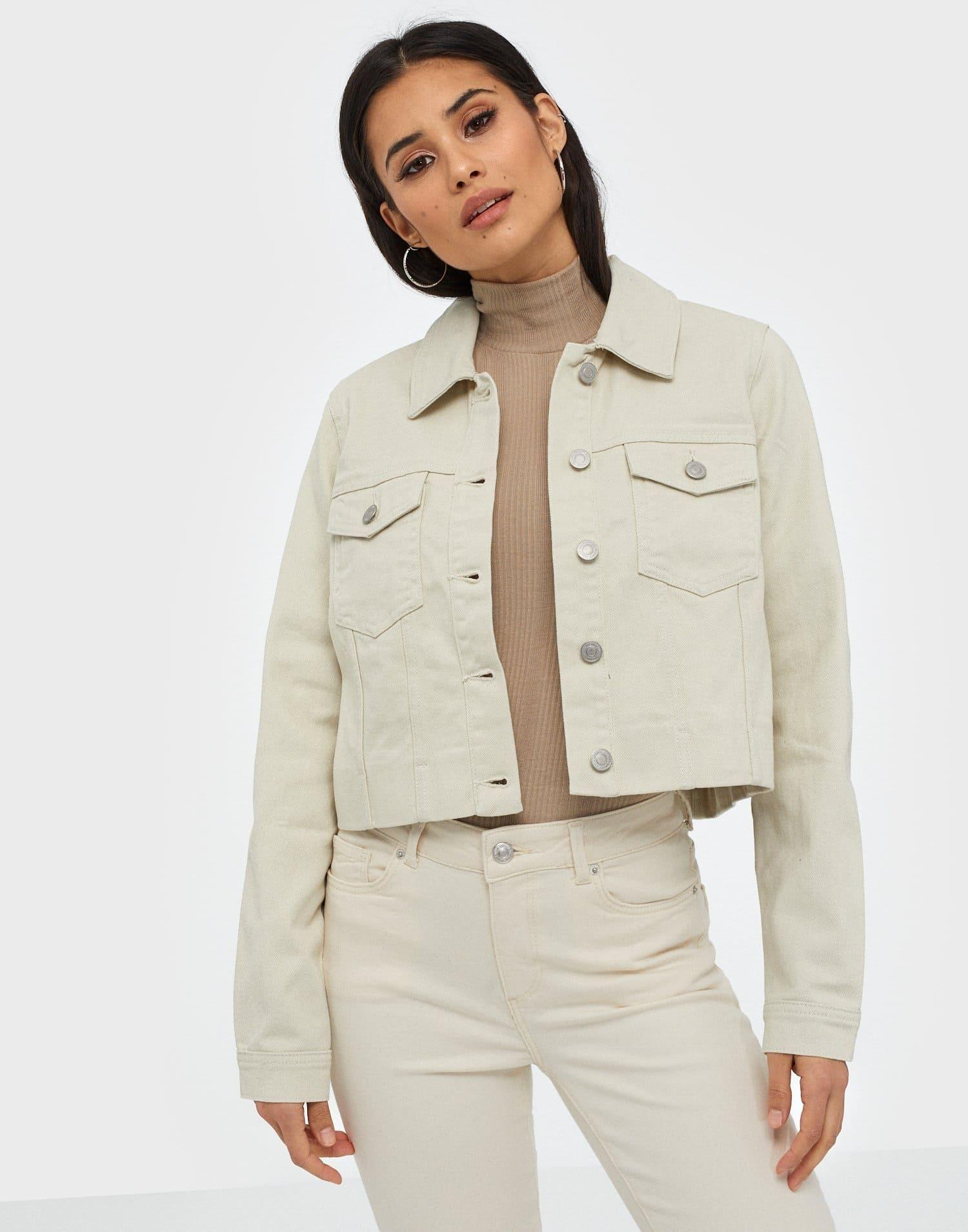 Kort vit jeansjacka för dam med krage
