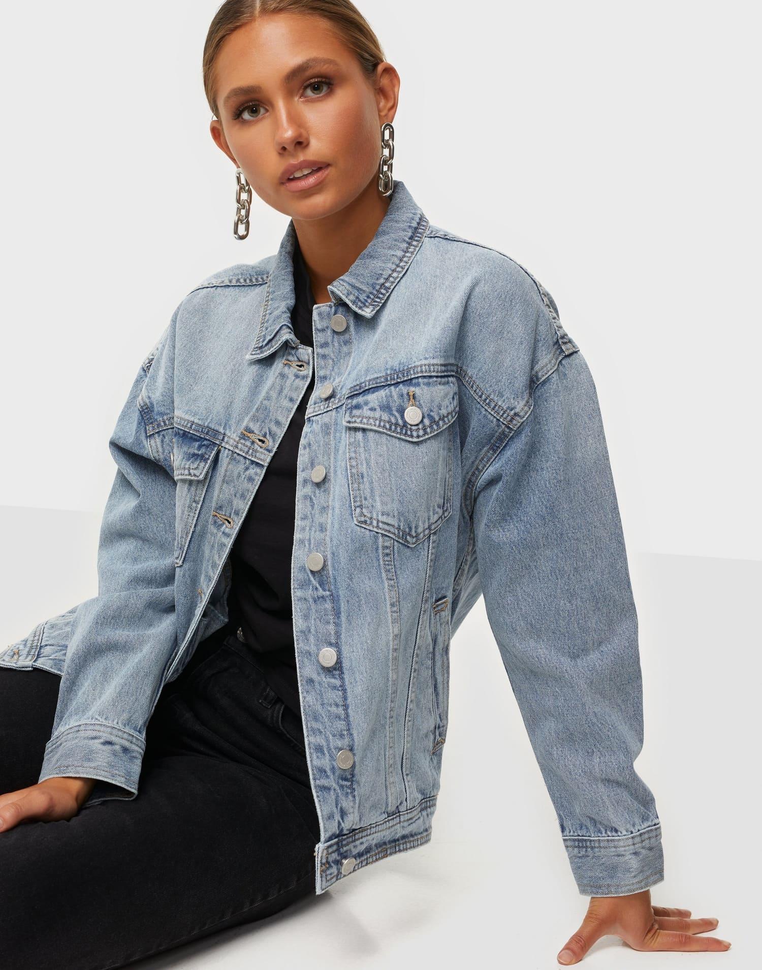 Oversized ljus jeansjacka för dam