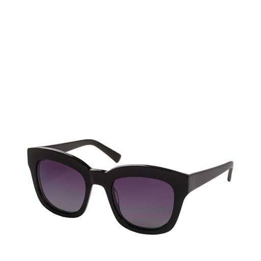 Svarta fyrkantiga solglasögon med lila glas för dam