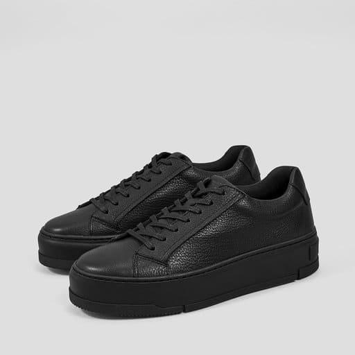 Svarta lädesneakers för dam 2021