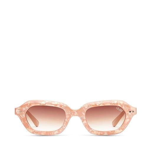 Ljusrosa ovalt runda solglasögon för dam