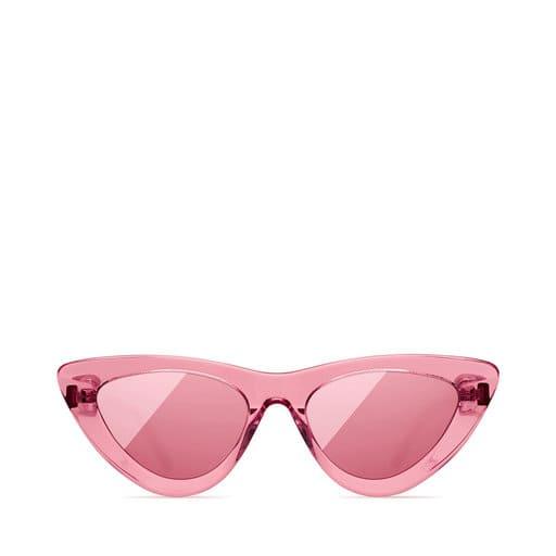 Rosa genomskinliga solglasögon för dam i cateye-modell