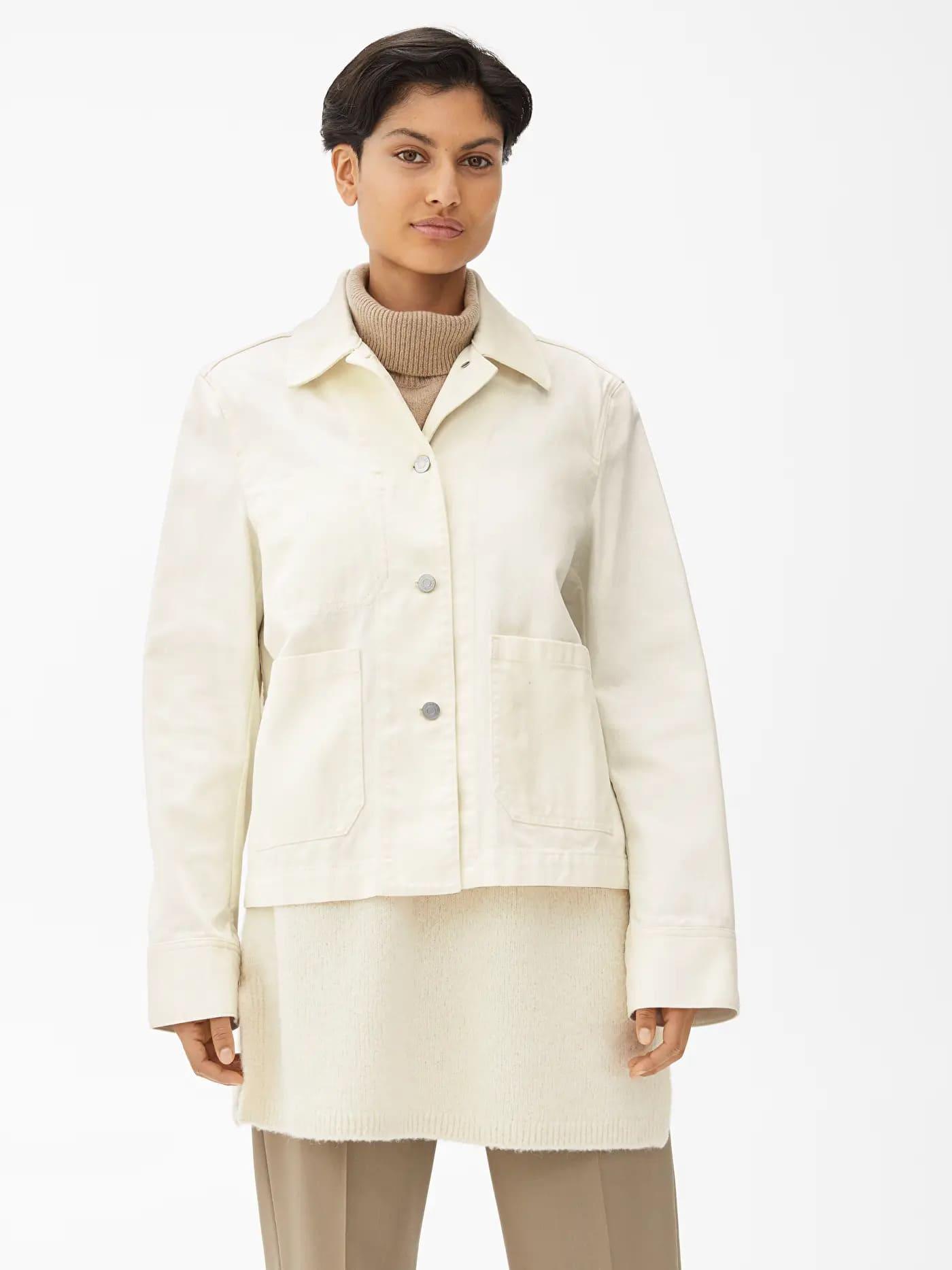 Oversized vit jeansjacka för dam