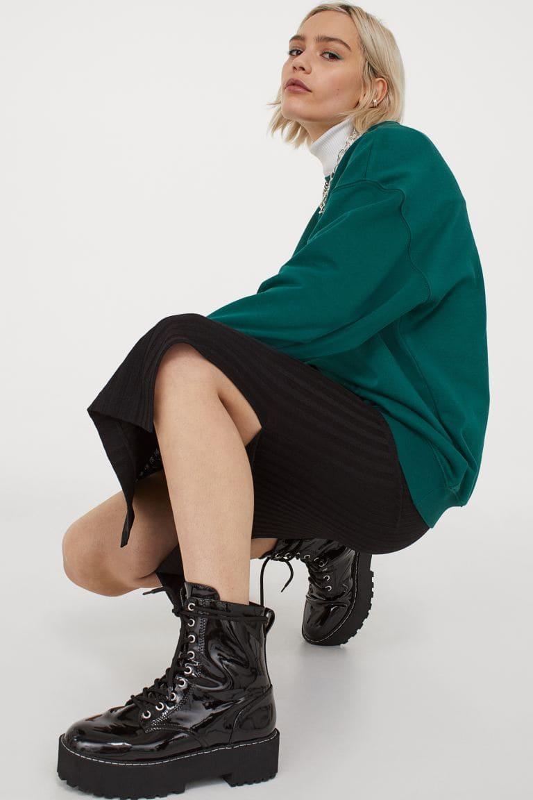 Lång svart kjol för dam 2021