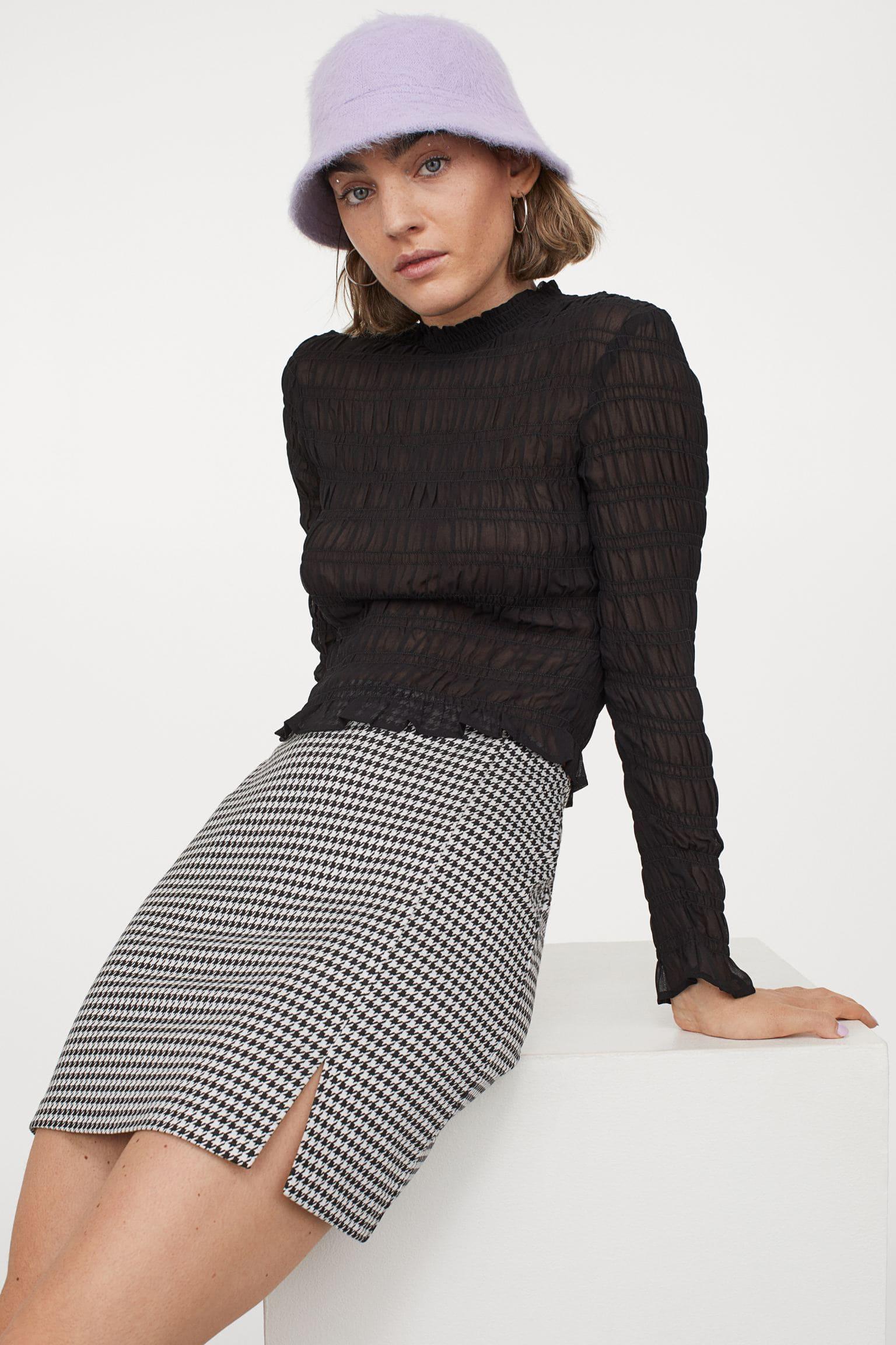 Kort kjol med slits för dam