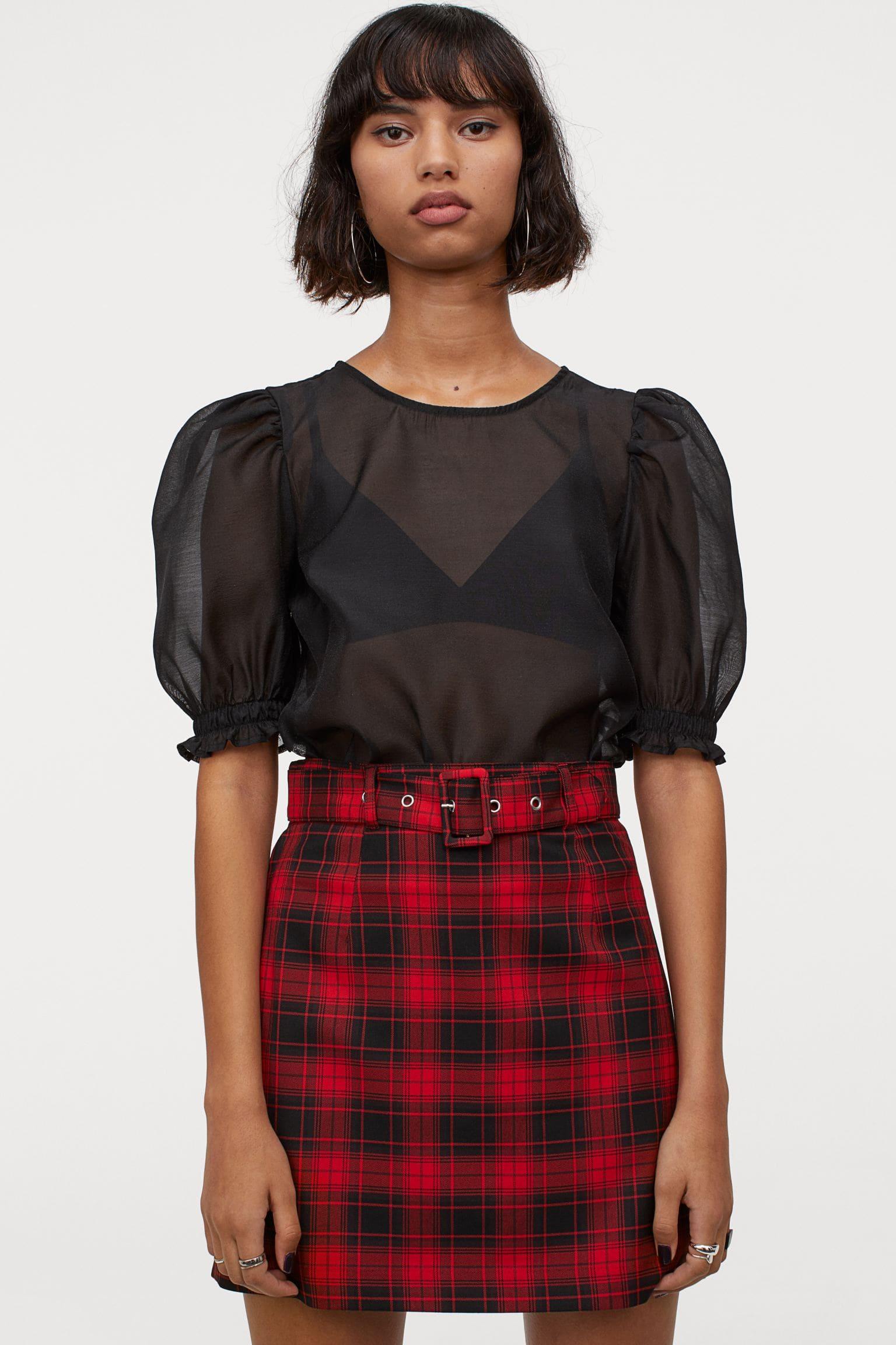 Röd och svart rutig kjol för dam 2021