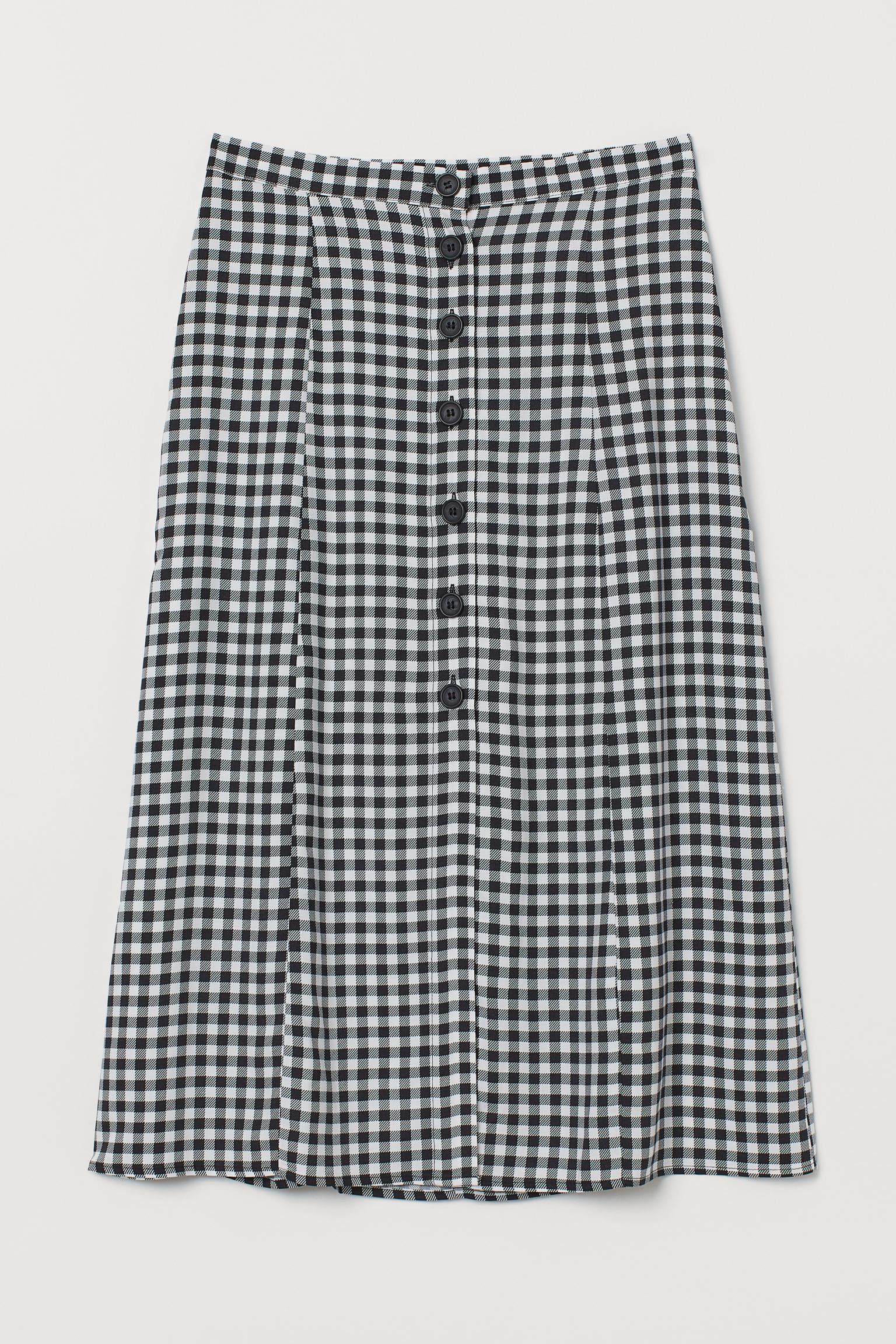 Lång vit och svart rutig kjol för dam 2021