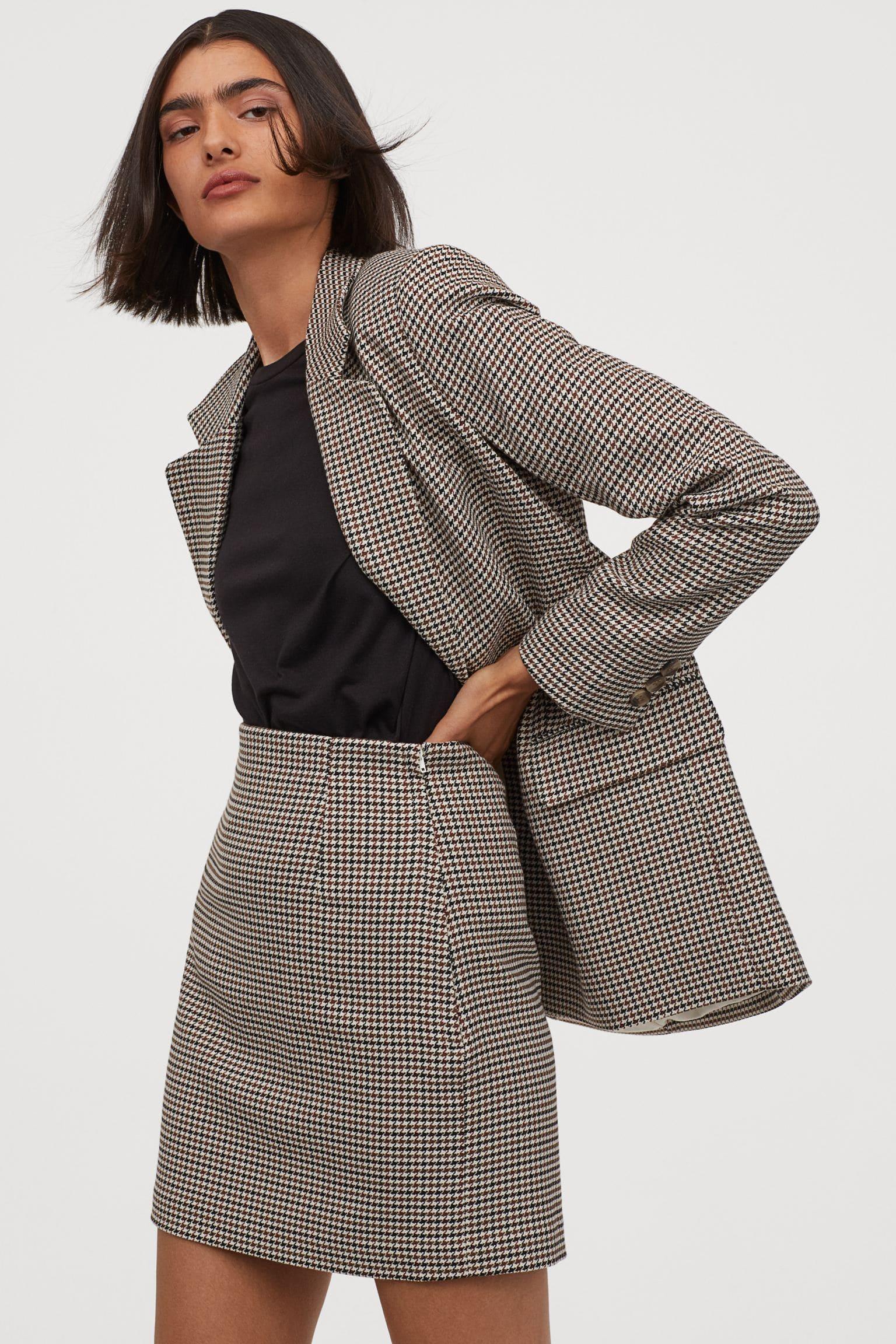Rutig kort kjol för dam 2021