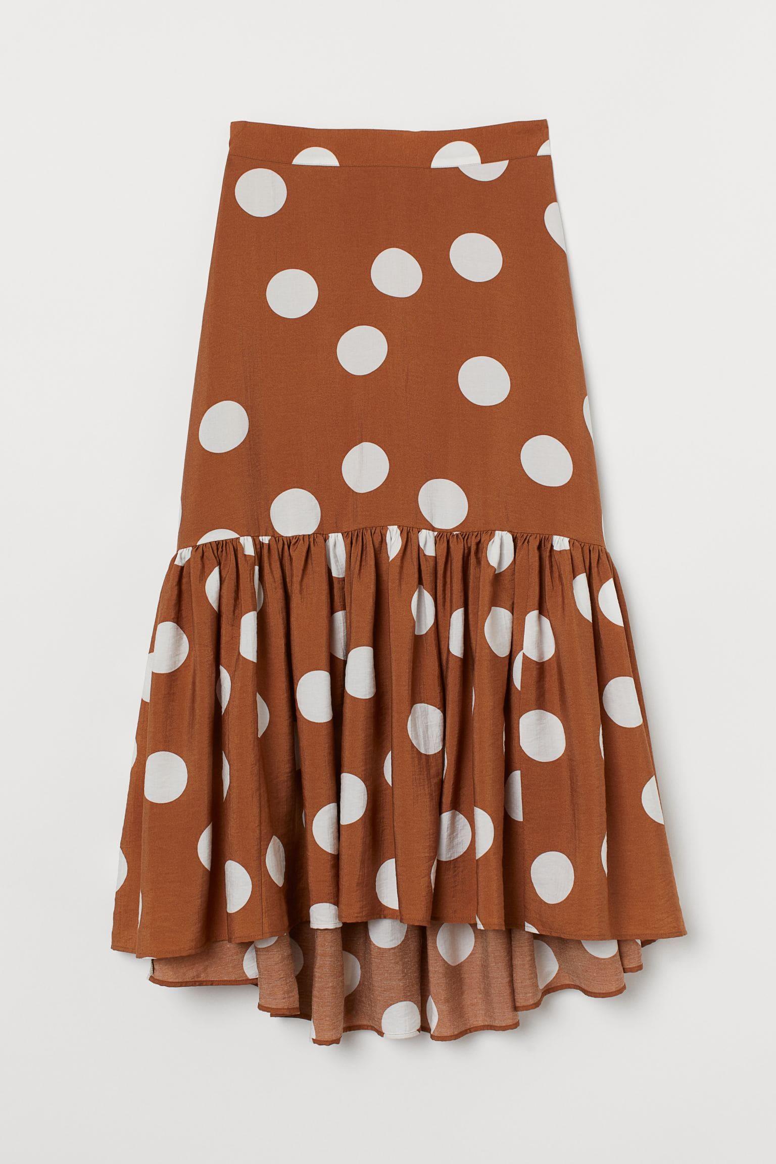 Vitprickig brun kjol för dam 2021