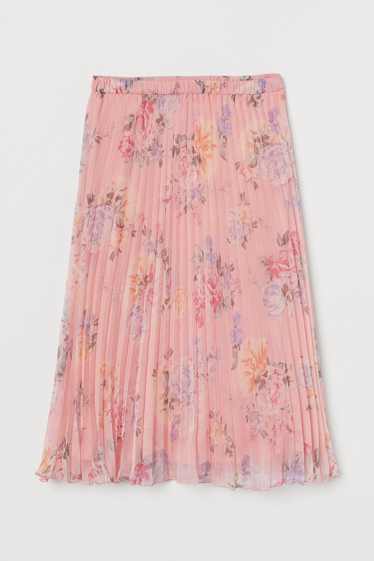 Blommig rosa kjol för dam 2021