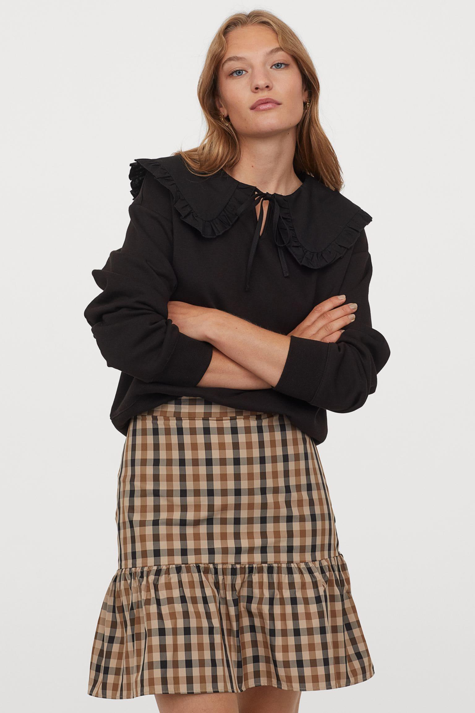 Rutig brun kjol för dam 2021