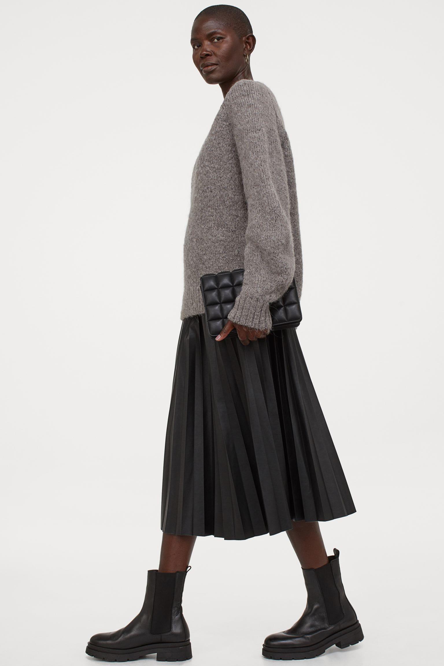 Kjol i fuskläder för dam i svart färg