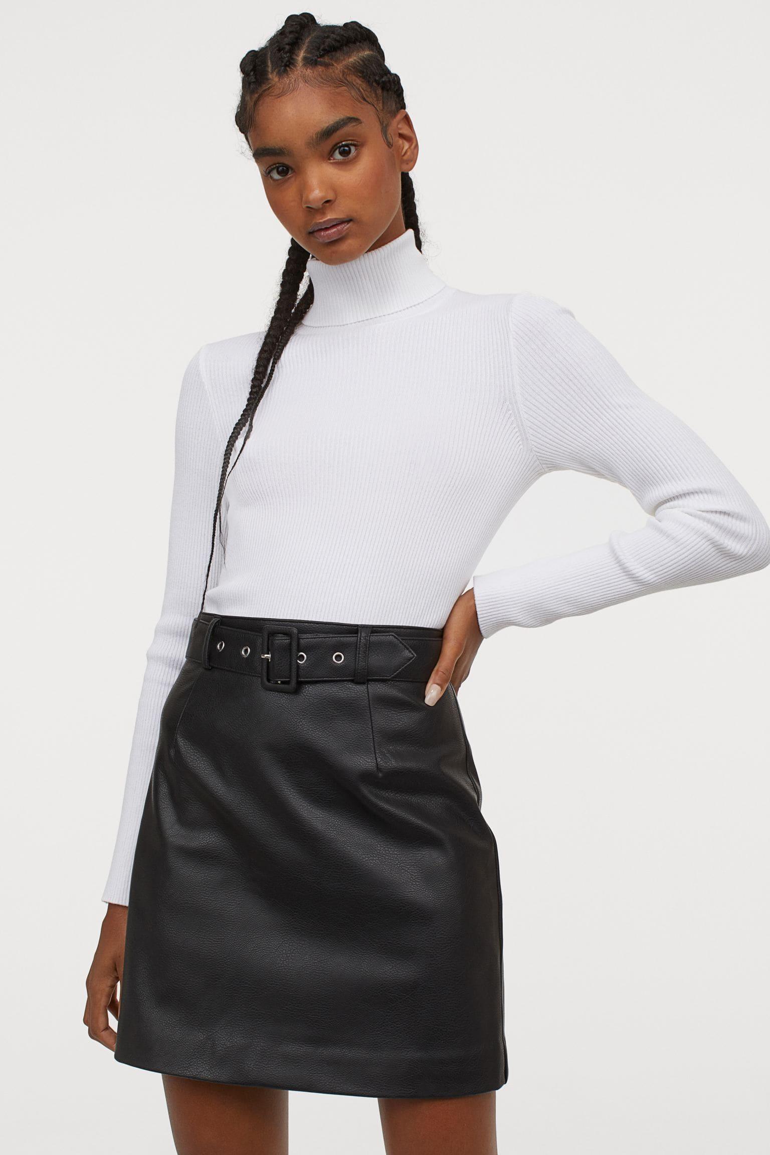 Svart kort kjol för dam 2021