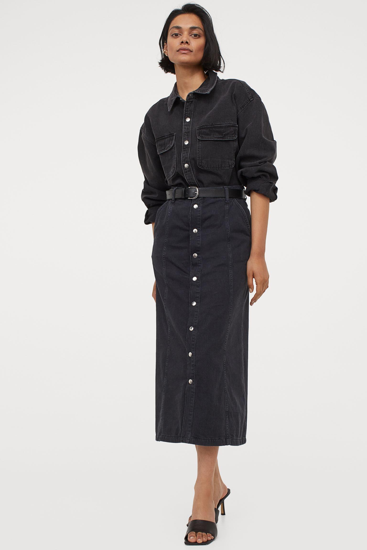 Lång kjol med knappar för dam
