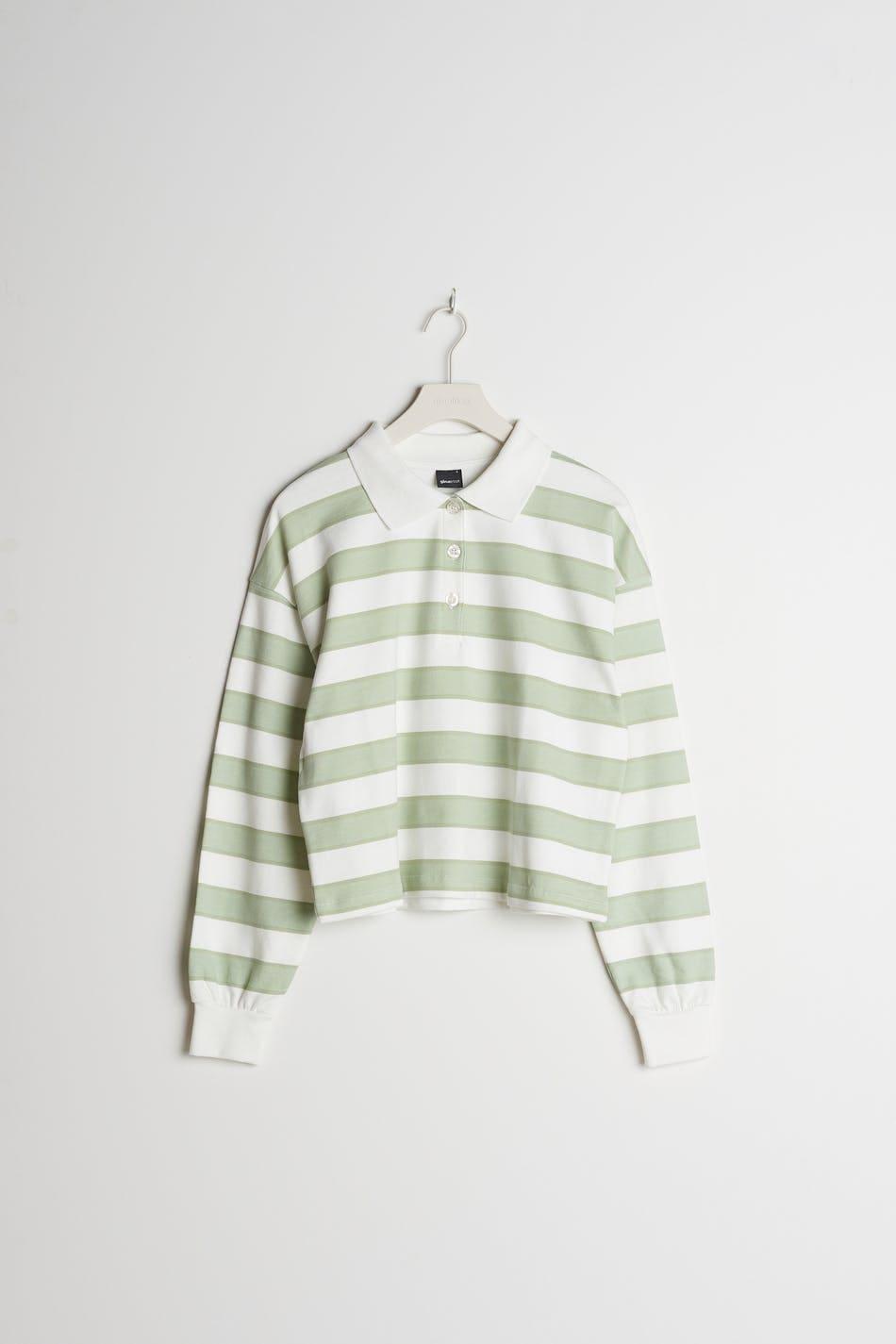 Grön och vit randig tröja i bomull