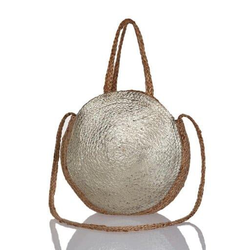 Rund liten väska i stråmaterial med framsida i guld